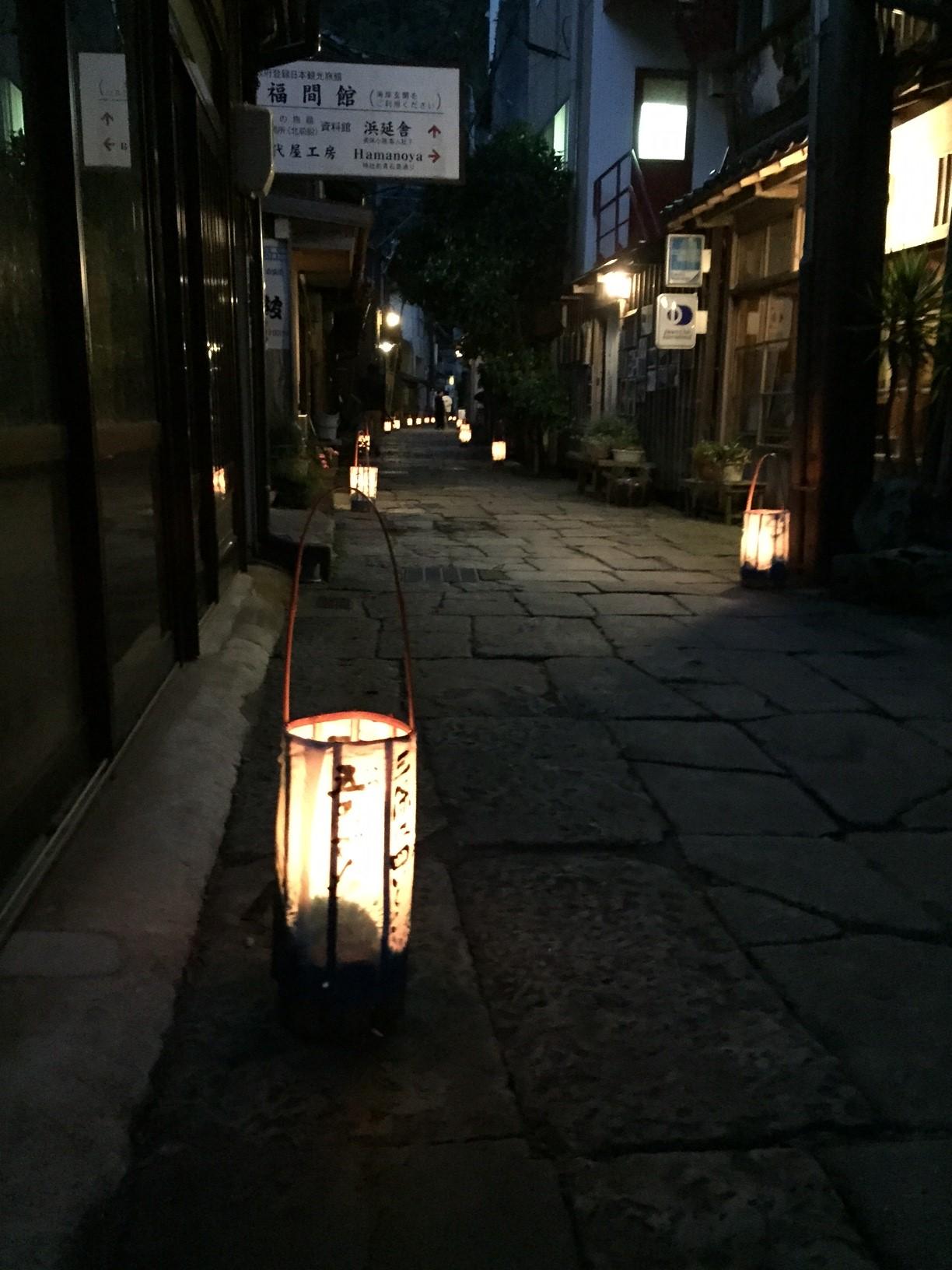 【美保関】青石畳通りライトアップ「陰翳礼賛・青の共演」